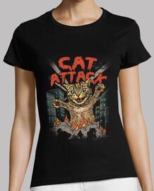gato ataque camisa mujeres