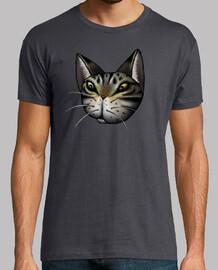 gato atigrado cara camiseta