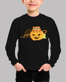 Gato Calabaza Halloween / Sombrero Bruj
