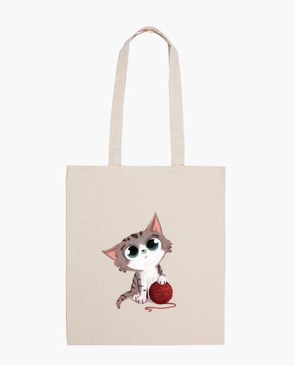 Bolsa gato con ovillo de lana