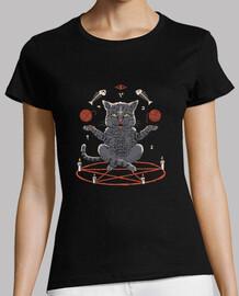gato desviado camisa para mujer