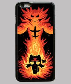 gato fuego interior - caja del teléfono