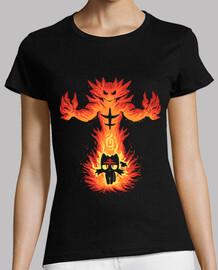 gato fuego interior - camisa de la mujer