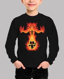 gato fuego interior - camisa de los niños