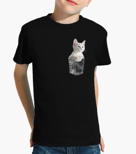 Ropa infantil Gato Gatito blanco en bolsillo