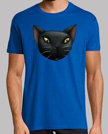 gato negro cara camiseta