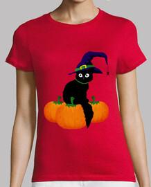 Gato Negro con Sombrero  y Calabazas. Halloween
