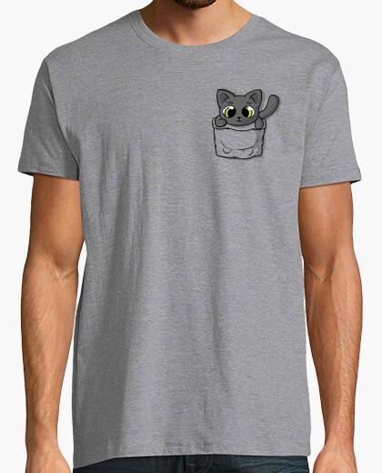 Camiseta gato negro lindo del bolsillo
