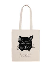 gato negro, tejido de la bolsa 100% algodón