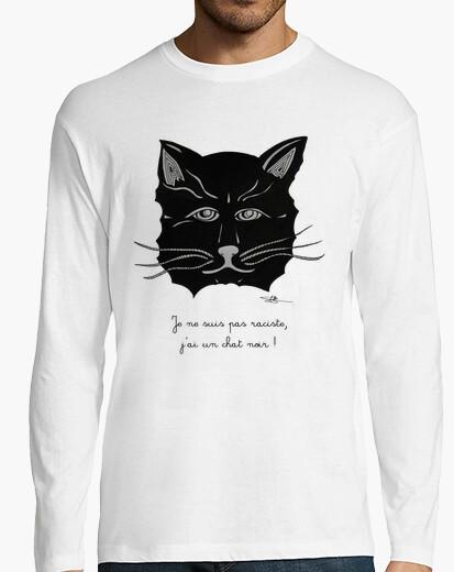 Camiseta gato negro, una camisa de hombre de manga larga, blanco