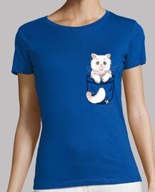 gato persa lindo bolsillo - camisa de mujer