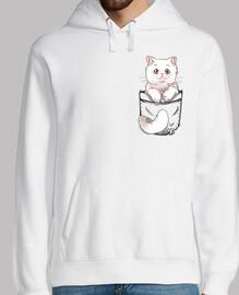 gato persa lindo bolsillo - sudadera con capucha