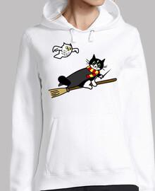 Gato Potter volando con lechuza