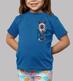 gato siamés lindo del bolsillo - camisa de los niños