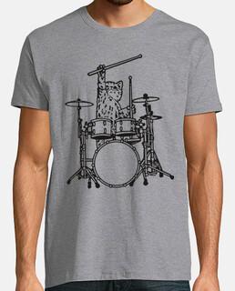 Gato tocando música rock con la batería