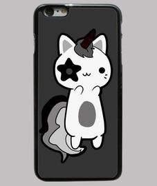 Gato Unicornio Retro Negro y Blanco
