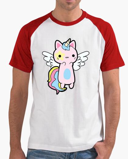 Camiseta Gato Unicornio Rosa Kawaii