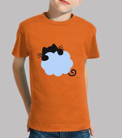 Gato volando en nube azul