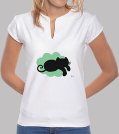 Gato volando en nube verde