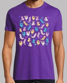 gatos coloridos camisa para hombre