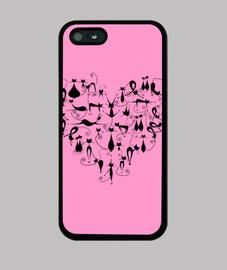 Gatos corazon rosa