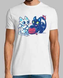 gatos dragón luz y noche - camisa para hombre