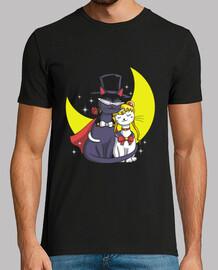 gatos luz de la luna camisa para hombre