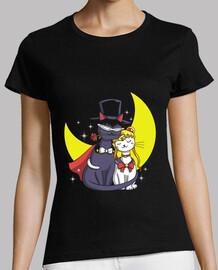 gatos luz de la luna camisa para mujer