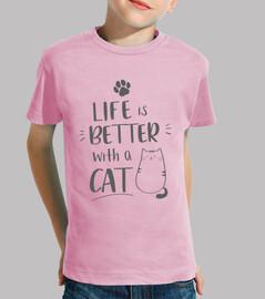 Gatos t-shirt, cat girl, Niña, manga corta, rosa