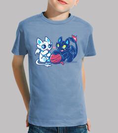gatti del drago di luce e notte - maglietta per bambini