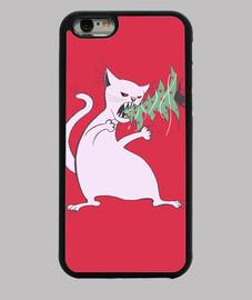 gatto bianco divertente mangia l'albero di natale