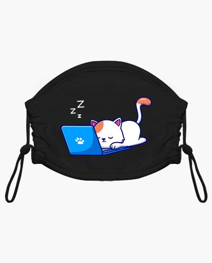 Mascherina bambino gatto fa un pisolino sul suo laptop
