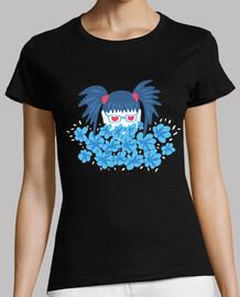 geek girl blue hair and flowers