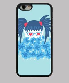 geek ragazza blu capelli e fiori