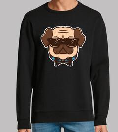 Geeky Pug Dog Face Illustrative Design