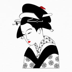 Tee-shirts geisha blanco y negro