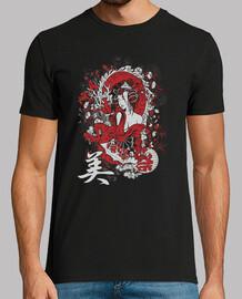 geisha girl t-shirt sexy mythical dragon red japanese spirit yokai