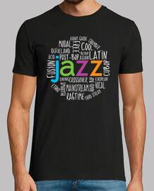 géneros de jazz fresco de la camiseta