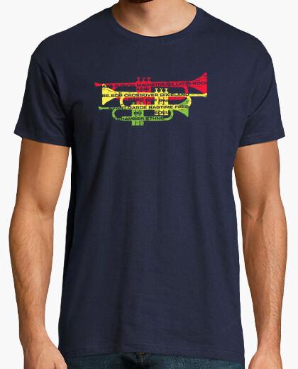 Camiseta géneros del jazz con las trompetas t-shirt
