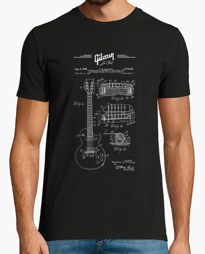 Camiseta gibson les paul guitarra patente dibujo