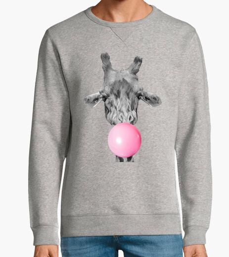 Girafe bulle de chewing gum Homme, sweat, gris vigoré