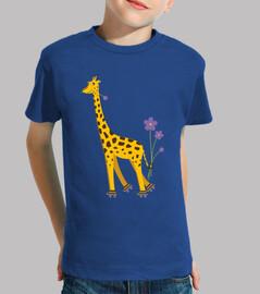 girafe de bande dessinée de patinage mignon drôle