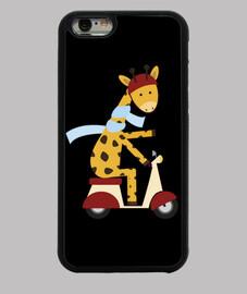 girafe sur le moteur scooter