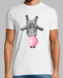 giraffe bubble of chewing gum tee shirt man, white, high quality
