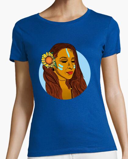 Camiseta Girasol - Mujer, manga corta, azul royal, calidad premium