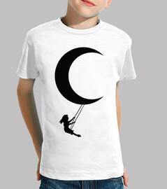 girl swinging moon swing black