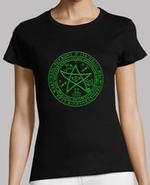 girl t-shirt pentacle cthulhu green