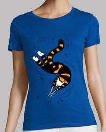 glückliche schwimmende Katzenskeletthän
