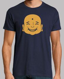 gold buddha face negative space design