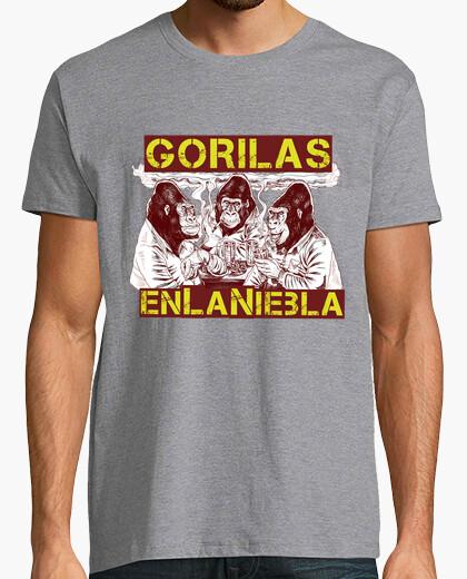 T-shirt gorilla nella nebbia